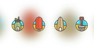 教你绘制一组风格清新的夏日图标