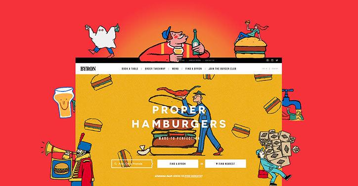 取代了传统的字体,导航栏现在是由 alec设计的卡通图案填充——汉堡
