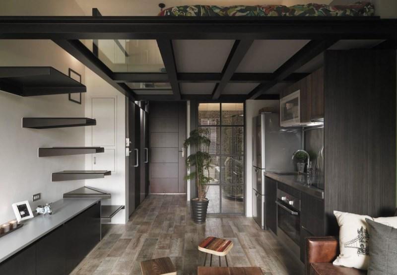 像是虫点子创意设计便在不到20坪的空间中,采用下方悬空电视柜刻意