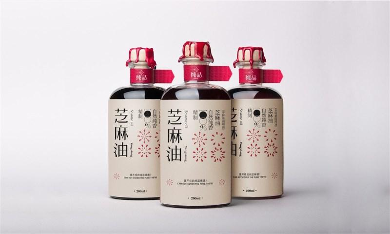 陕西西安杨翔餐饮芝麻油瓶贴标签包装设计1.jpg