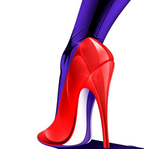 陈列色彩搭配鞋子手绘