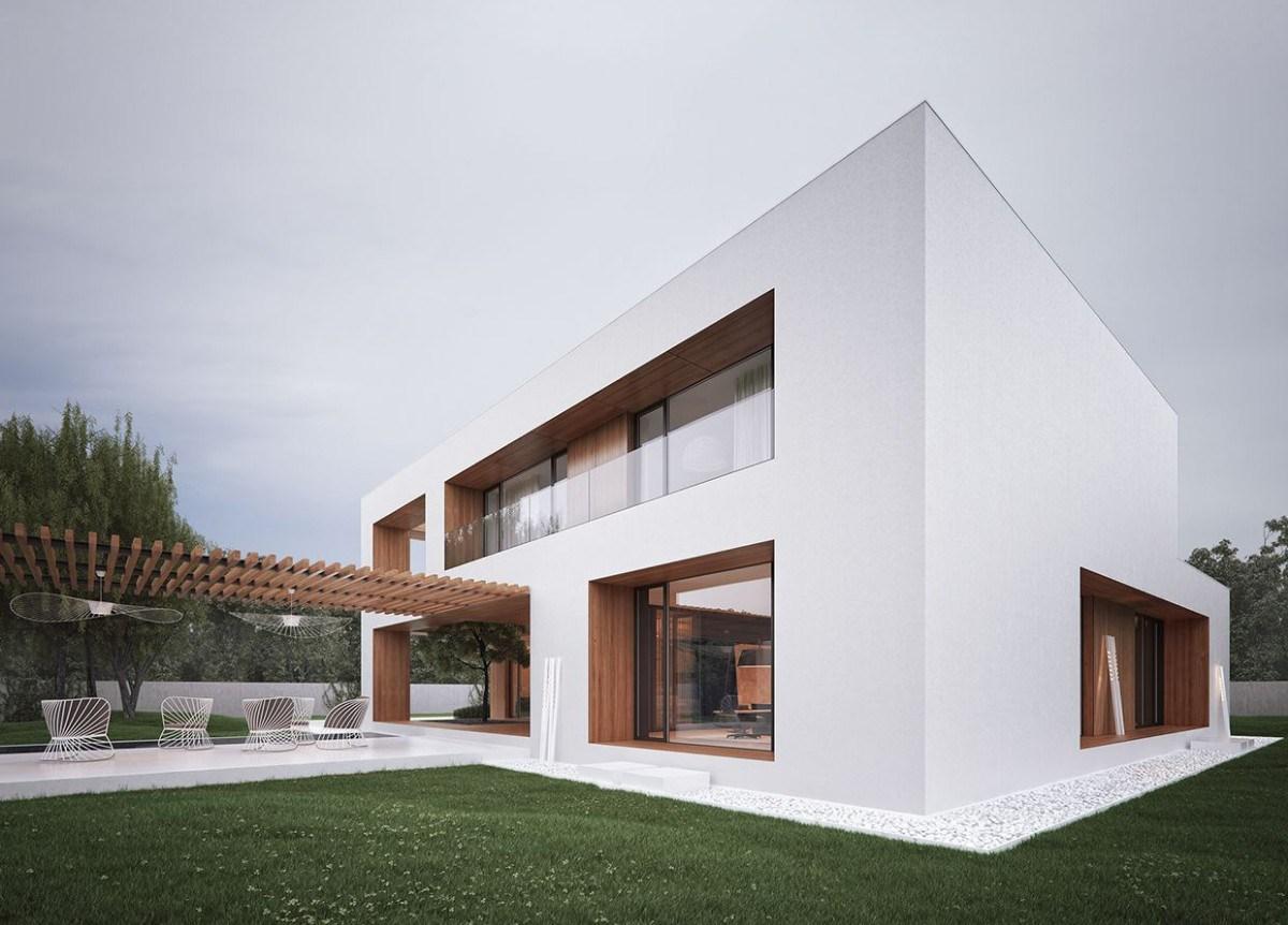 【建筑】欧式简洁几何体私人别墅设计
