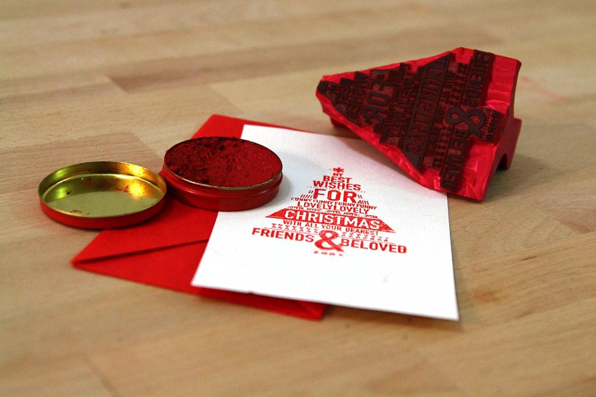 【手工艺】创意手工圣诞树印章明信片