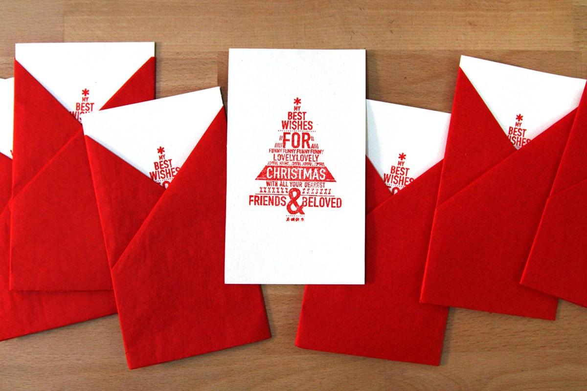 【手工艺】创意手工圣诞树印章明信片-中国设计网